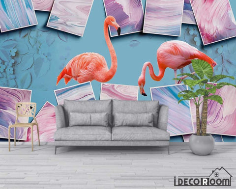 Image of Art abstract color block flamingo floral wallpaper wall murals IDCWP-HL-000662