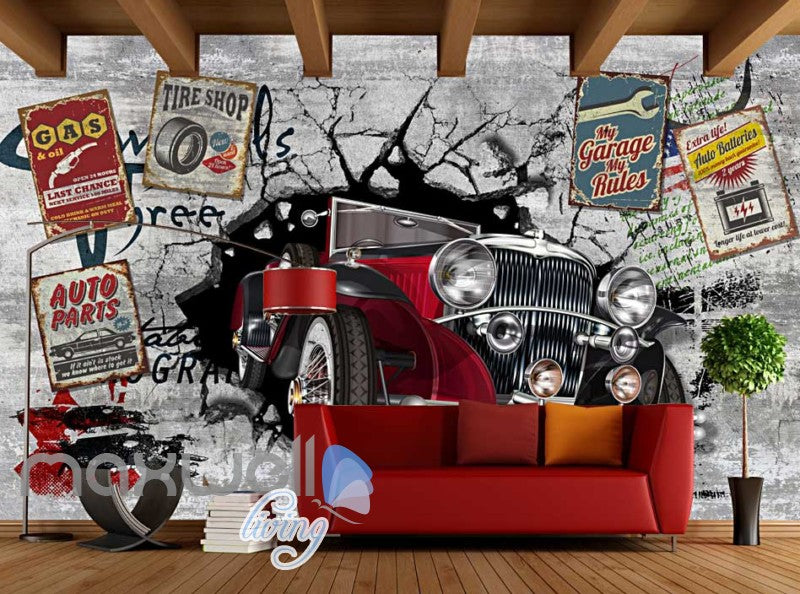 3d classic car vintage garage art wall murals wallpaper for Car wallpaper mural