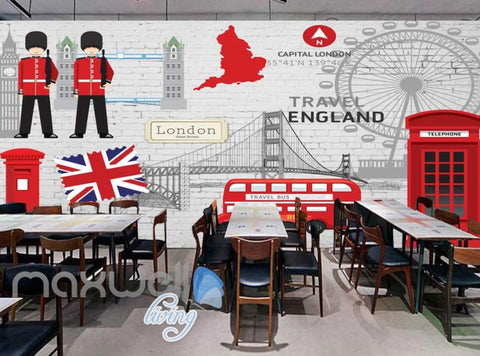 Image of London England Travel Red Art Wall Murals Wallpaper Decals Prints Decor IDCWP-JB-000011