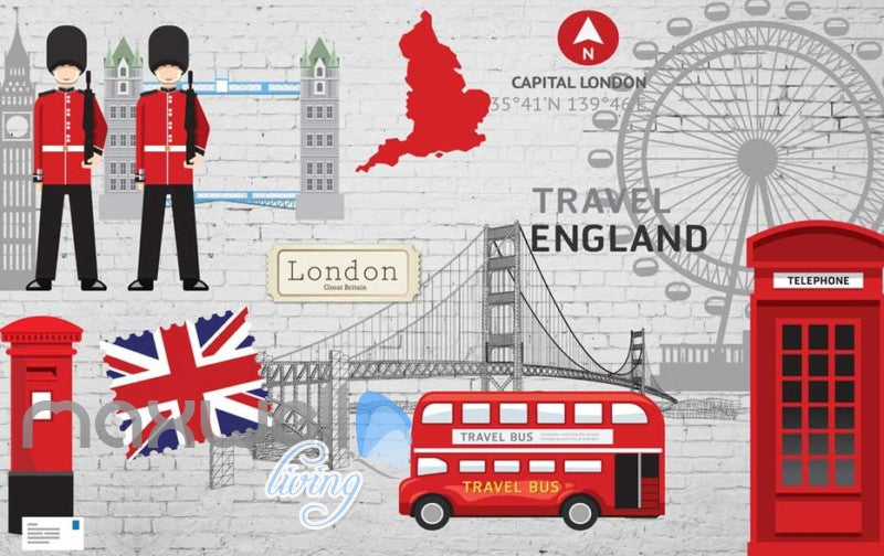 London England Travel Red Art Wall Murals Wallpaper Decals Prints Decor IDCWP-JB-000011
