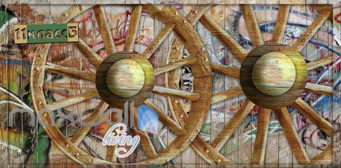 Image of Wooden Graffiti Wheel Wallpaper Art Wall Murals Wallpaper Decals Prints Decor IDCWP-JB-000022