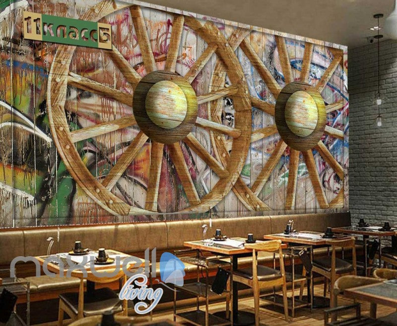 Wooden Graffiti Wheel Wallpaper Art Wall Murals Wallpaper Decals Prints Decor IDCWP-JB-000022