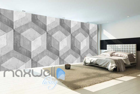 Image of Optical Illusion Concrete Square Pattern Art Wall Murals Wallpaper Decals Prints Decor IDCWP-JB-000024