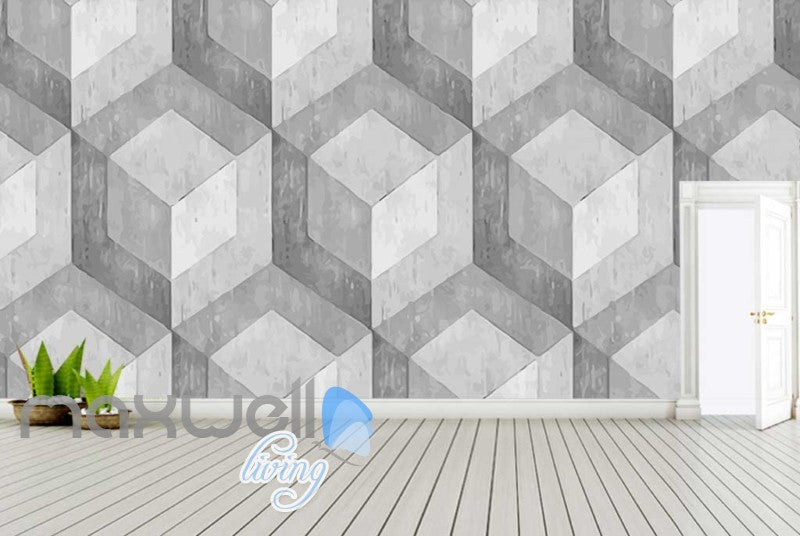 Optical Illusion Concrete Square Pattern Art Wall Murals Wallpaper Decals Prints Decor IDCWP-JB-000024