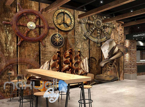 Image of Wood Travel Boots Ship Sea Art Wall Murals Wallpaper Decals Prints Decor IDCWP-JB-000031