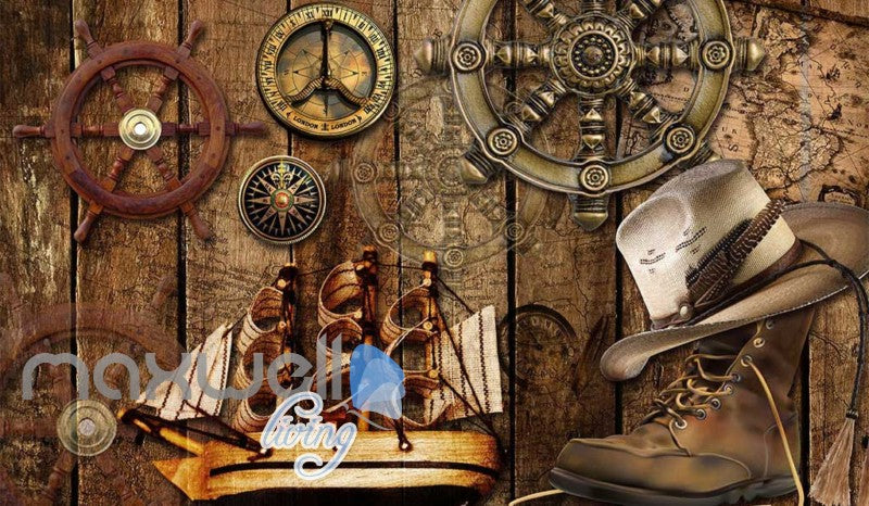 Wood Travel Boots Ship Sea Art Wall Murals Wallpaper Decals Prints Decor IDCWP-JB-000031