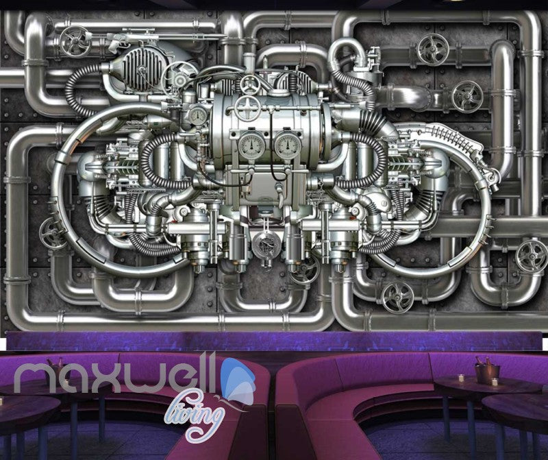 Metal Pipe Work Chrome Engine Art Wall Murals Wallpaper Decals Prints Decor IDCWP-JB-000039