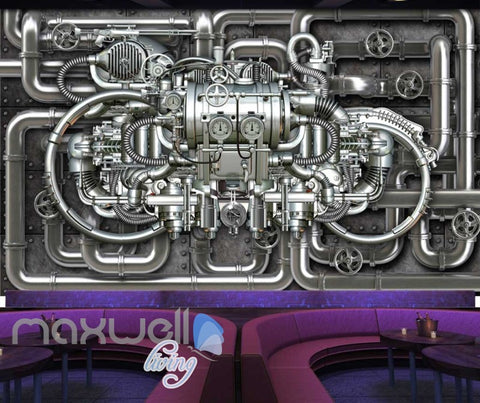 Image of Metal Pipe Work Chrome Engine Art Wall Murals Wallpaper Decals Prints Decor IDCWP-JB-000039