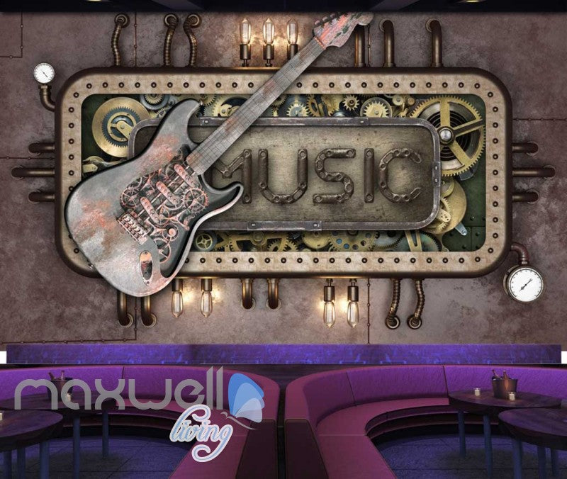 Steam Punk Music Guitar Mural Metal Art Wall Murals Wallpaper Decals