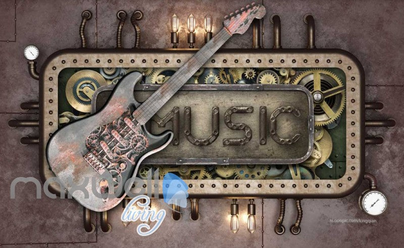 Steam Punk Music Guitar Mural Metal Art Wall Murals Wallpaper Decals Prints Decor IDCWP-JB-000040