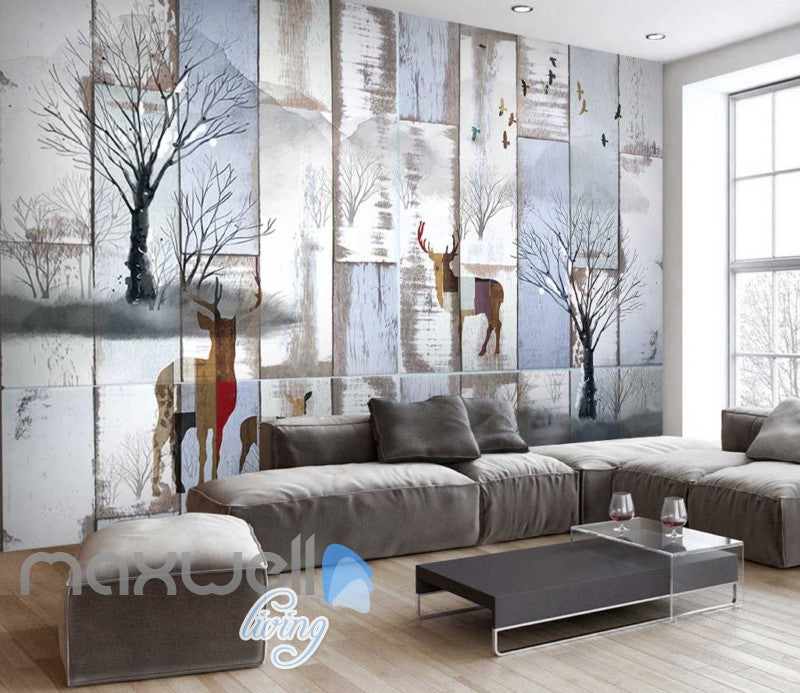 Winter Snow Art Deer Wall Poster Art Wall Murals Wallpaper Decals Prints Decor IDCWP-JB-000050