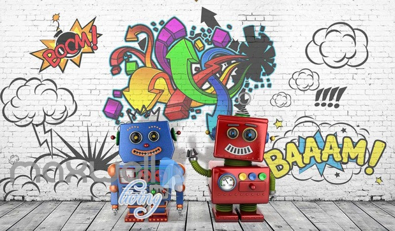 Robots Graffiti Wall Desgin Art Wall Murals Wallpaper Decals Prints Decor  IDCWP JB 000056
