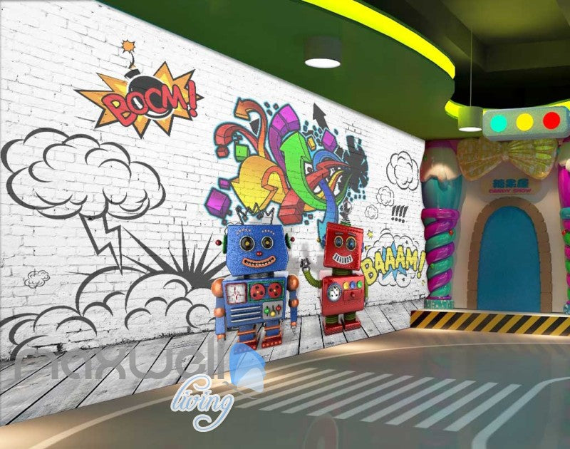 Robots Graffiti Wall Desgin Art Wall Murals Wallpaper Decals Prints Decor IDCWP-JB-000056