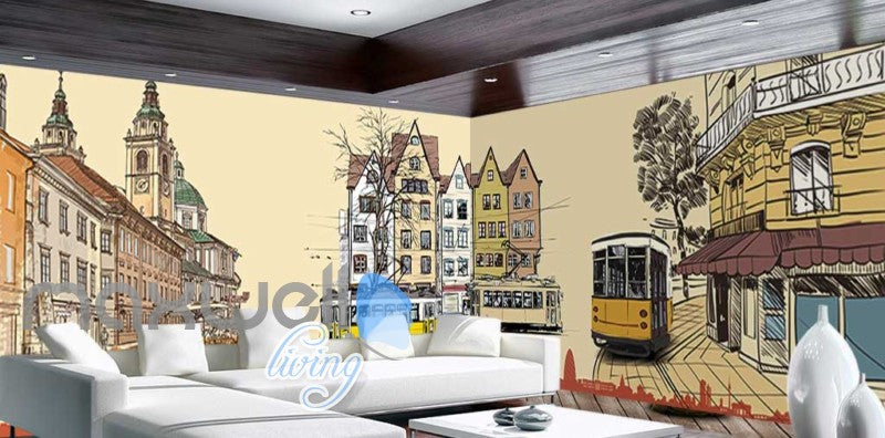 Old Style Tram City Art Design Art Wall Murals Wallpaper Decals Prints Decor IDCWP-JB-000057