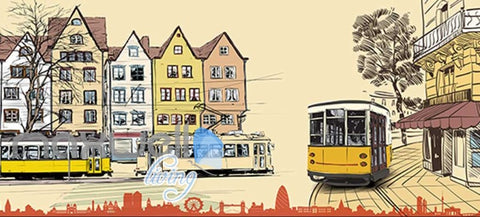 Image of Old Style Tram City Art Design Art Wall Murals Wallpaper Decals Prints Decor IDCWP-JB-000057