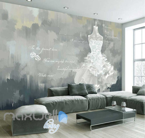 Image of White Wedding Dress Love Quotes Poster Art Wall Murals Wallpaper Decals Prints Decor IDCWP-JB-000061