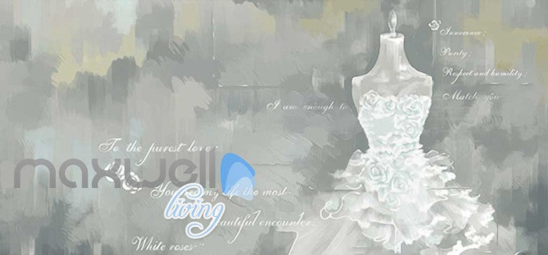 White Wedding Dress Love Quotes Poster Art Wall Murals Wallpaper Decals Prints Decor IDCWP-JB-000061