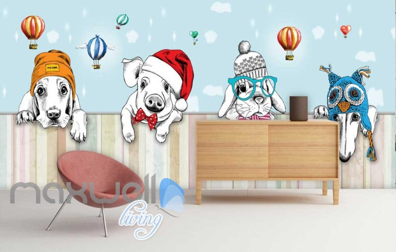 Animal Hats Cute Hot Air Ballon Art Art Wall Murals Wallpaper Decals Prints Decor IDCWP-JB-000063