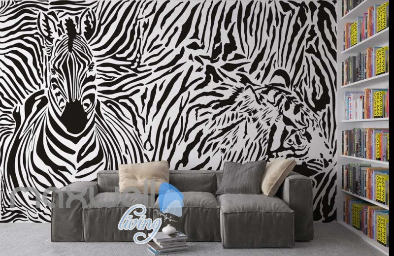 Optical Illusion Black White Tiger Zebra Art Wall Murals Wallpaper Decals Prints Decor IDCWP