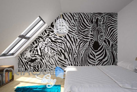 Image of Optical Illusion Black White Tiger Zebra Art Art Wall Murals Wallpaper Decals Prints Decor IDCWP-JB-000068