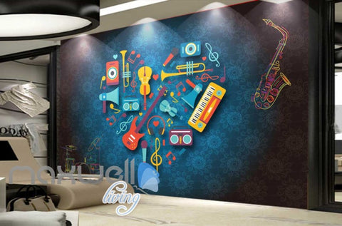Image of Heart Of Animated Instruments Desgin Art Wall Murals Wallpaper Decals Prints Decor IDCWP-JB-000070
