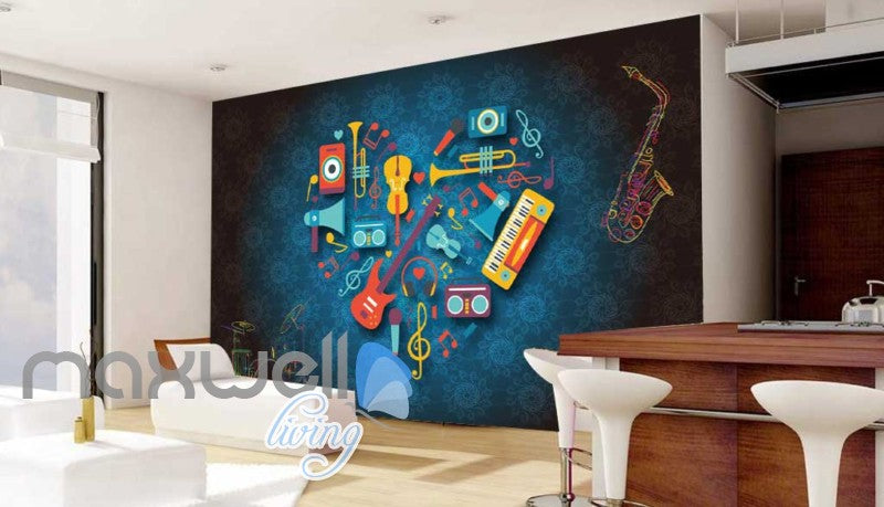 Heart Of Animated Instruments Desgin Art Wall Murals Wallpaper Decals Prints Decor IDCWP-JB-000070