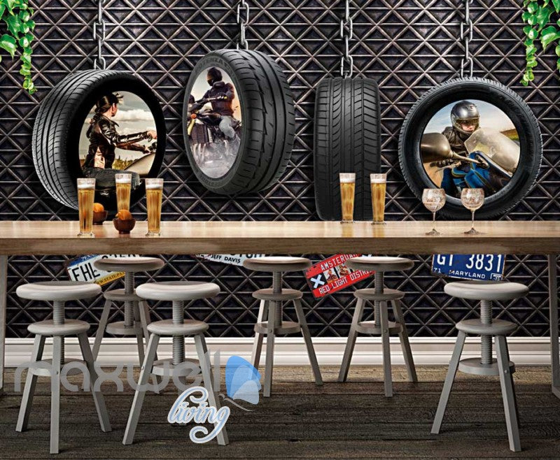 Motorcyle Tire Hanging Metal Wall Art Wall Murals Wallpaper Decals Prints Decor IDCWP-JB-000073