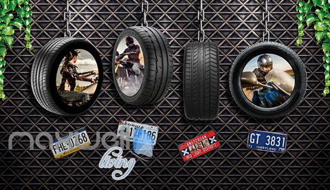 Image of Motorcyle Tire Hanging Metal Wall Art Wall Murals Wallpaper Decals Prints Decor IDCWP-JB-000073