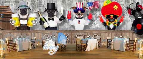 Image of Dog Dress Up Bartender World Bar Art Wall Murals Wallpaper Decals Prints Decor IDCWP-JB-000075