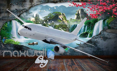 Image of Plane Breakthrough Wall Travel Holiday Art Wall Murals Wallpaper Decals Prints Decor IDCWP-JB-000083