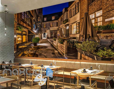 Image of Old Style Bar Hotl Alley Lights Art Wall Murals Wallpaper Decals Prints Decor IDCWP-JB-000086