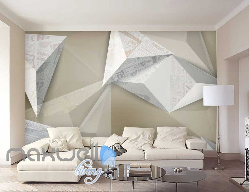 Origami White Wall Art Design Art Wall Murals Wallpaper Decals Prints Decor  IDCWP JB