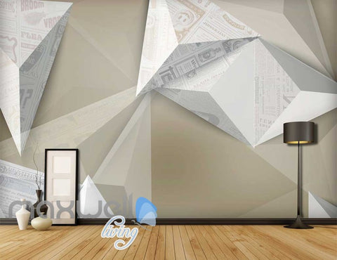 Image of Origami White Wall Art Design Art Wall Murals Wallpaper Decals Prints Decor IDCWP-JB-000092