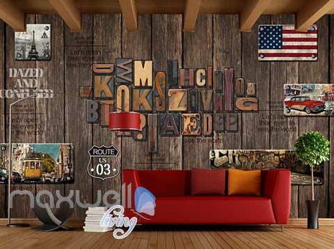Image of World Travel Letter Wood Wall Mural Art Wall Murals Wallpaper Decals Prints Decor IDCWP-JB-000094