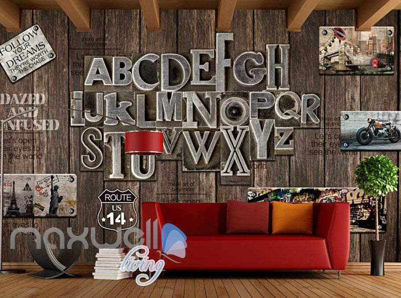World Letter Display Wood Wall Design Art Wall Murals Wallpaper Decals Prints Decor IDCWP-JB-000095