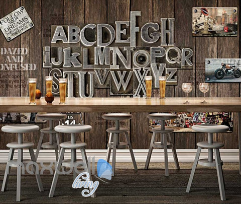Image of World Letter Display Wood Wall Design Art Wall Murals Wallpaper Decals Prints Decor IDCWP-JB-000095