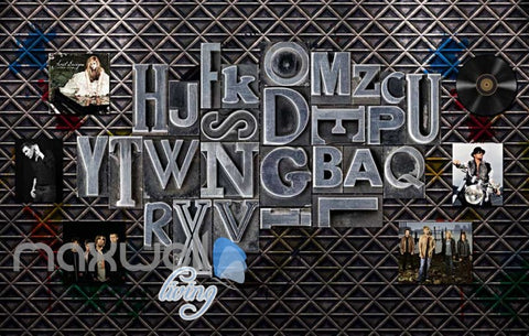 Image of Metal Letter Layout Music Bands Design Art Wall Murals Wallpaper Decals Prints Decor IDCWP-JB-000098