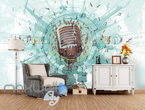 Image of Music Mic Notes Explosion Poster Art Wall Murals Wallpaper Decals Prints Decor IDCWP-JB-000106