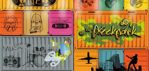 Image of Graffiti Art Container Collection Art Wall Murals Wallpaper Decals Prints Decor IDCWP-JB-000112