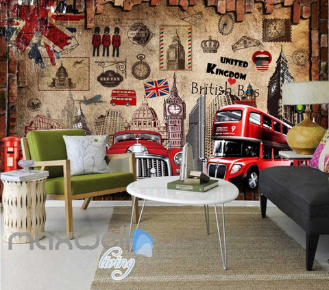 Image of London England United Kingdom Display Red Art Wall Murals Wallpaper Decals Prints Decor IDCWP-JB-000119