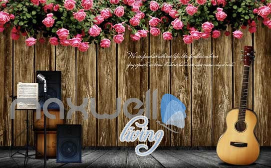 Music Stage Flowers Instruments Art Wall Murals Wallpaper Decals Prints Decor IDCWP-JB-000122
