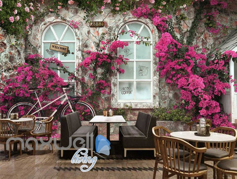 Image of Pink Rose Caf?Bike Art Art Wall Murals Wallpaper Decals Prints Decor IDCWP-JB-000127