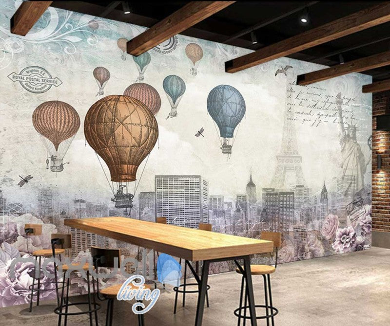 World Timeline Hot Air Ballon Art Art Wall Murals Wallpaper Decals Prints Decor IDCWP-JB-000129