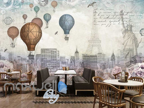 Image of World Timeline Hot Air Ballon Art Art Wall Murals Wallpaper Decals Prints Decor IDCWP-JB-000129
