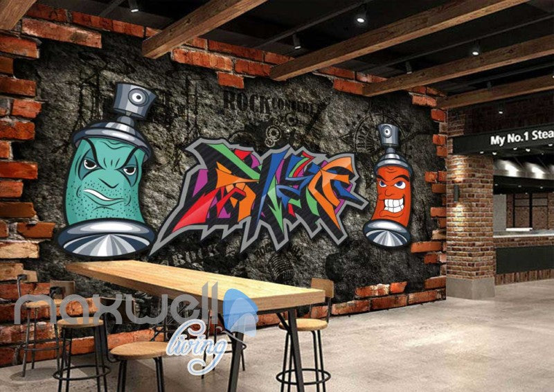 Graffiti Wall Breakthrough Art Rocl Art Wall Murals Wallpaper Decals Prints Decor IDCWP-JB-000133