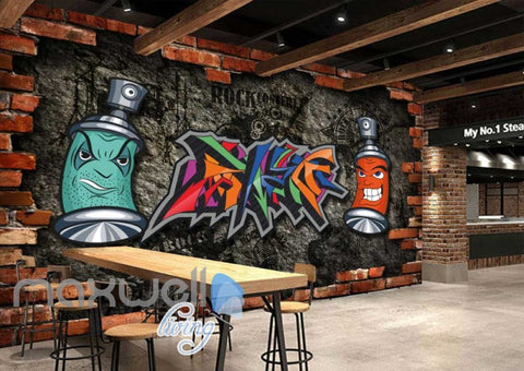 Image of Graffiti Wall Breakthrough Art Rocl Art Wall Murals Wallpaper Decals Prints Decor IDCWP-JB-000133