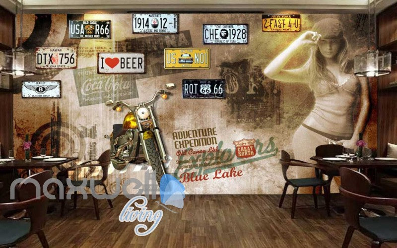 World Lady Motor Bike Lisence Plate Art Wall Murals Wallpaper Decals Prints Decor IDCWP-JB-000137