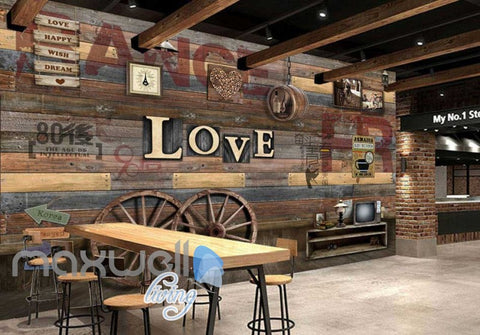 Image of Wood Wheel Lertter Love Collection Art Wall Murals Wallpaper Decals Prints Decor IDCWP-JB-000140
