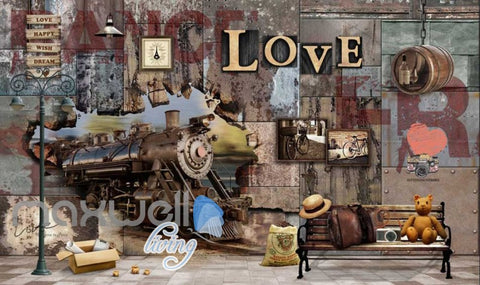 Image of Steam Train Breakthrough World Travel Art Wall Murals Wallpaper Decals Prints Decor IDCWP-JB-000141