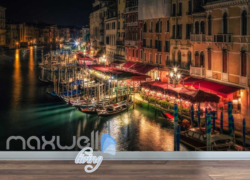 Venice Boats River Lights Photo Art Wall Murals Wallpaper Decals Prints Decor IDCWP-JB-000144